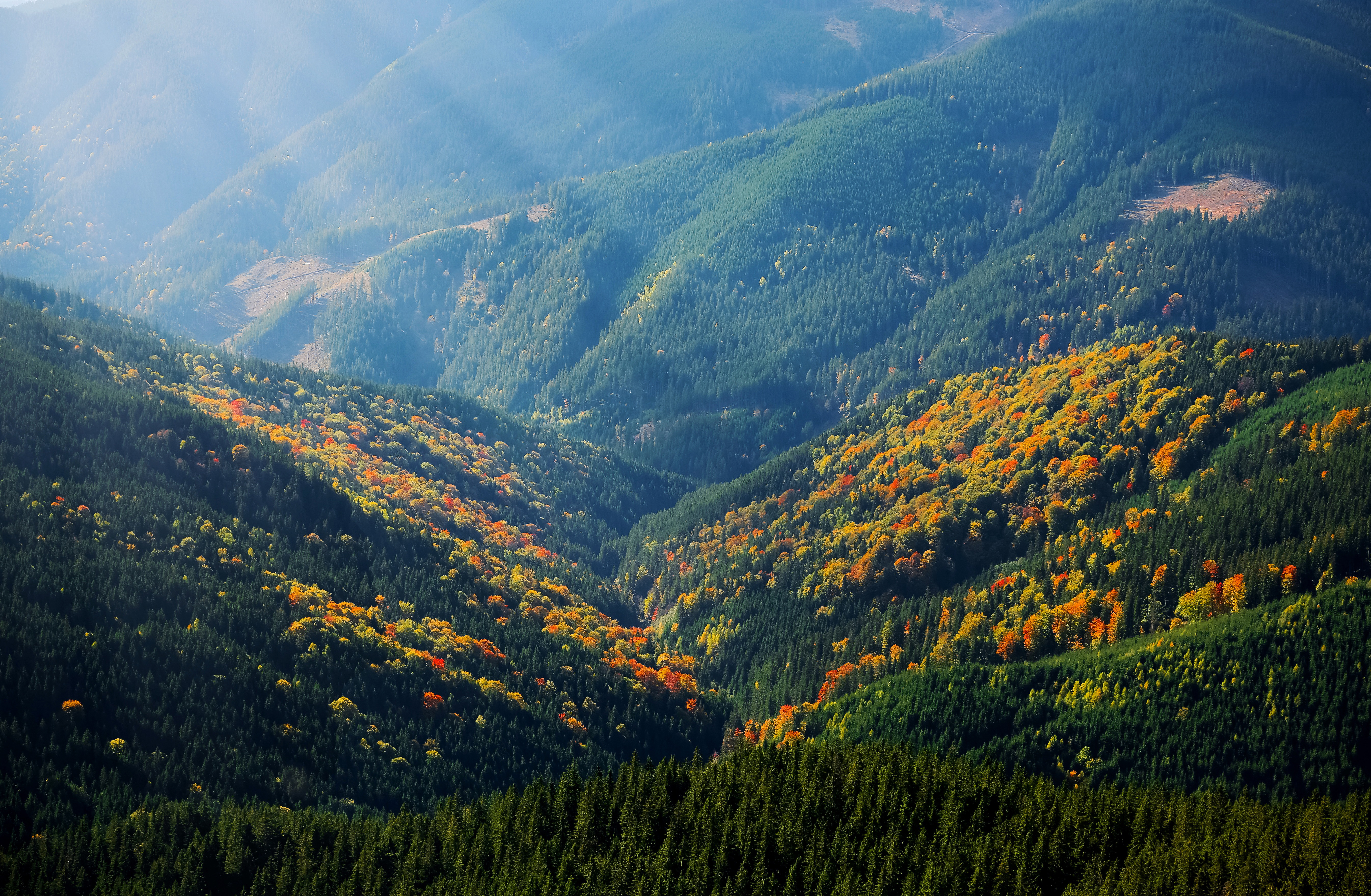 mountain , rays, hill, nature, landscape,