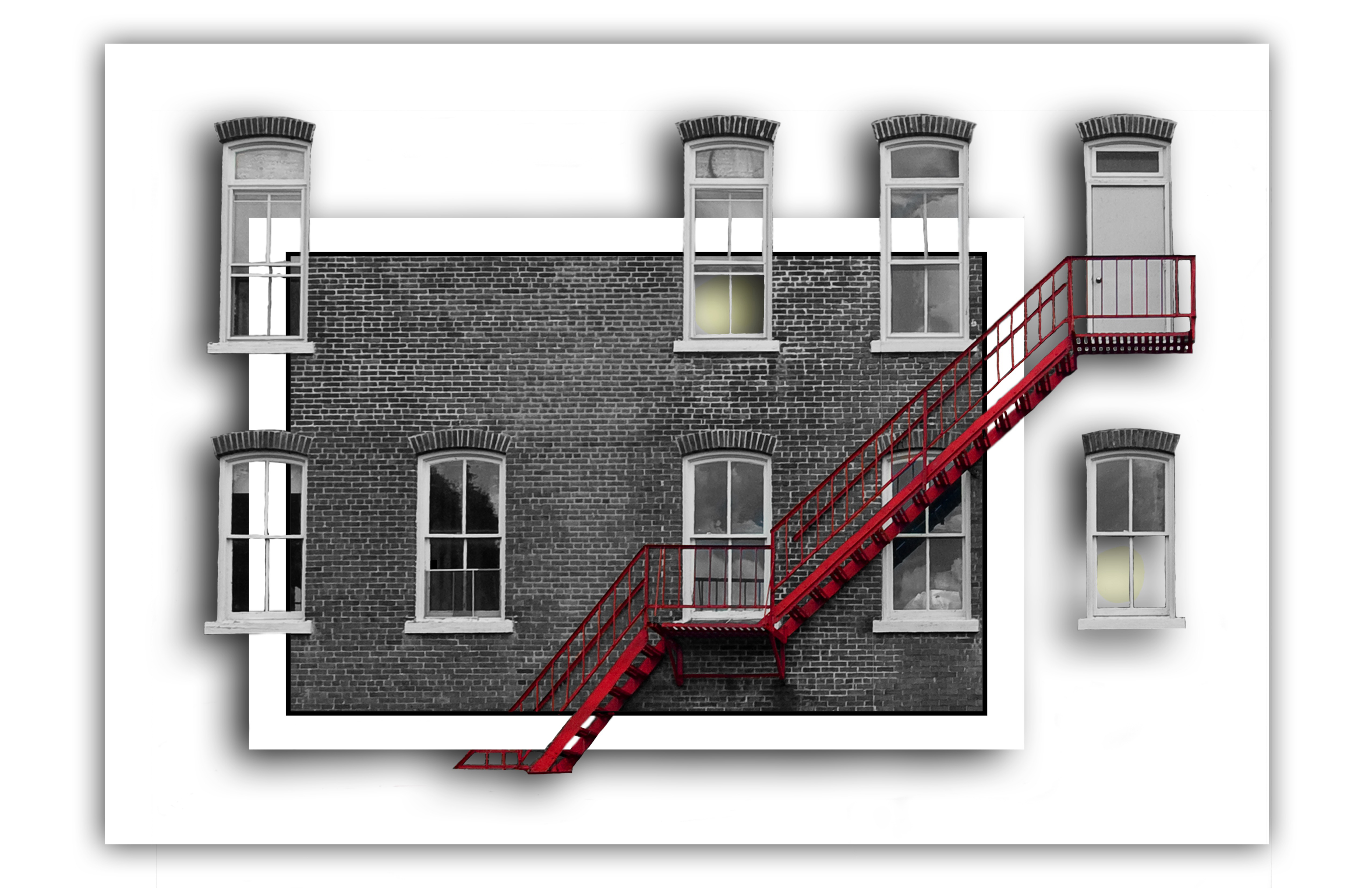 Windows house, facade, stairs, front